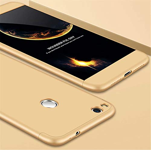 AILZH Huawei Honor 8 Lite Hülle 360 Grad Schutzhülle PC Schale Anti-Schock Shockproof Ganzkörper Schützend Anti-Kratz Stoßfänger 360 Grad Full-Cover Case Matte Schutzkasten 3 in 1(Gold)