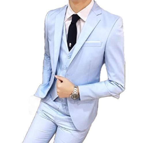 CuteRose Men Plus Size Wedding Set 3-Piece Blazer Tux Vest & Trousers Light Blue XL - Light Blue Tweed