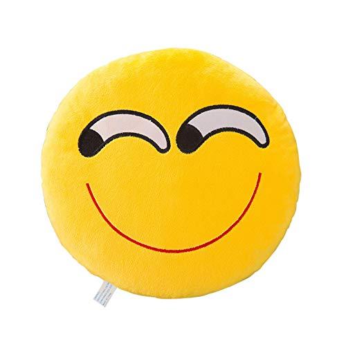 Andouy cuscino rotondo, morbido, deluxe cuscino emoji faccinasorridente cuscino emoticon faccia che ride grande cuscino decorativo peluche emoji pupazzo emoji smile face colore giallo