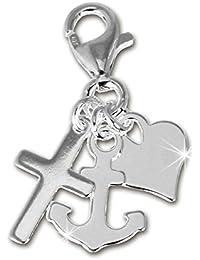SilberDream Charms - Charm ancres, cœur, trèfle en argent pour charms colliers bracelets boucles d'oreilles - Argent 925 Sterling - FC506