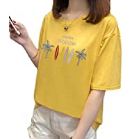 Fashring Women's Short Sleeve Round Neck Floral Letter Print Loose Oversize Summer Tee Top Blouse Yellow L