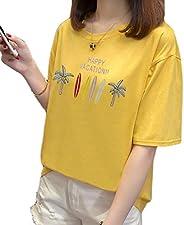 Fashring Women's Short Sleeve Round Neck Floral Letter Print Loose Oversize Summer Tee Top Bl