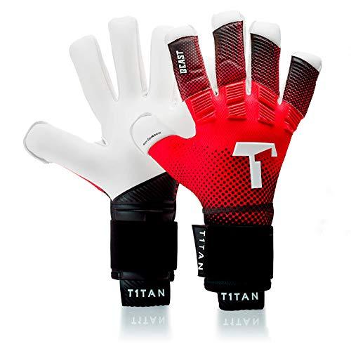 guanti da portiere con stecche T1TAN Red Beast Guanti da Portiere con Stecche di Protezione - utilizzati in Serie A - Modelli per Uomo & Adulto - Taglia 6