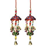 Door Hanging Umbrella With Big Ganesha Painted And Metal Bell Set Of 2 By Handicrafts Paradise