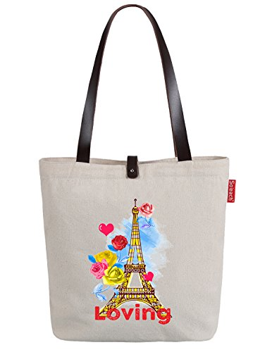So'each Women's Loving Eiffel Tower Floral Top Handle Canvas Tote Shoulder Bag Natural Color
