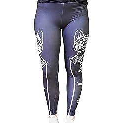 Hanessa Mujeres Leggins Blanco y Negro Impresa Leggings Pantalones Primavera Verano Ropa Cat S/M