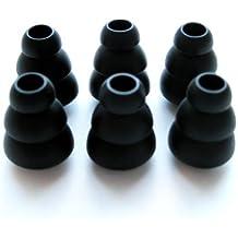 6pequeño (S) negro suave Triple Brida Reemplazo auriculares auriculares juego para Sennheiser IE Series, CX Series, CXC Series, CXL Series, OCX Series, y MM Series en auriculares del auricular