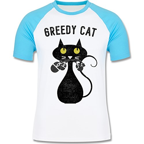 Nerds & Geeks - Greedy Cat - Nerdy Cats - zweifarbiges Baseballshirt für Männer Weiß/Türkis