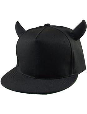 Un elegante ajustable gorras de béisbol hip-hop sombrero con negro Devil  cuernos apto para 0d88a1d411b