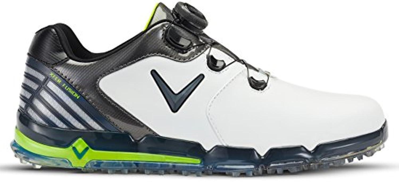 Callaway Xfer Fusion Boa Zapatillas de Golf, Hombre, Blanco (White/Grey/Green), 46 EU