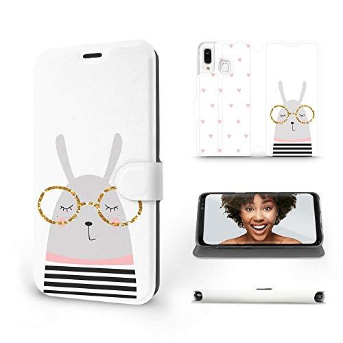 MOBIWEAR   Slim FLIP Case   Kompatibel mit Samsung Galaxy A40, Made in EU handyhülle, Premium Schutzhülle, Transparent TPU Silicon, Book Style Hülle, Tasche - Kaninchen mit Brille