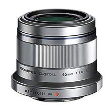 Olympus M.Zuiko Digital Obiettivo 45mm 1:1.8, Micro Quattro Terzi, per Fotocamere OM-D e PEN, Argento