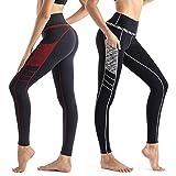 Wirezoll Sport Damen Leggings, Lange Blinkdicht Yoga Hose Sporthose Fitnesshose mit Taschen, Upgrade 2pack, M