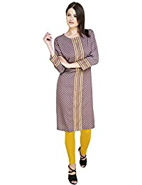 TruLuv Elegant Design Kurti With Beautiful Neck Design And Floral-Geometric Crepe Fabric. Grey-Yellow-Pink Color...