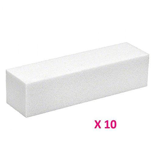 10 blocs blancs polissoirs, manucure faux ongles gel uv ,résine , vernis permanent