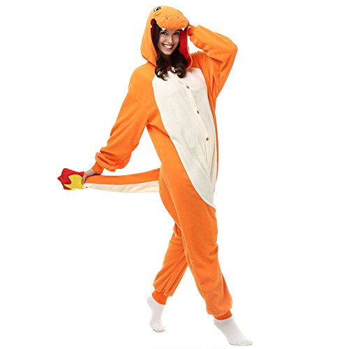 Kostüm Schlafanzug Einteiler - Erwachsene Glumanda Einteiler Polar Fleece Schlafanzüge Cartoon Tier Nachtwäsche Halloween Cosplay Kostüm Unisex, Orange - Orange, M (Höhe 5'2-5'6)