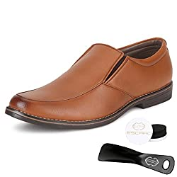 Escaro Mens Tan Formal Slip On Dress Shoes(ES1038KB_TAN_7)