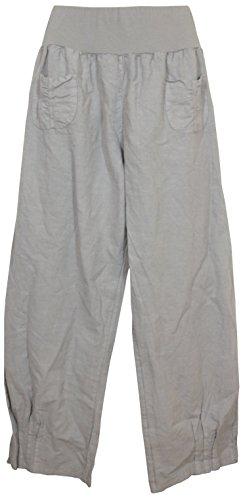 Süden Kurze Tasche (Damen Hose / Leinenhose aus luftigem angenehm zu tragendem Leinen, bequemer Schnitt, Gummibund, 2 aufgesetzte Taschen vorne, Größen M - 3XL, Made in Italy)