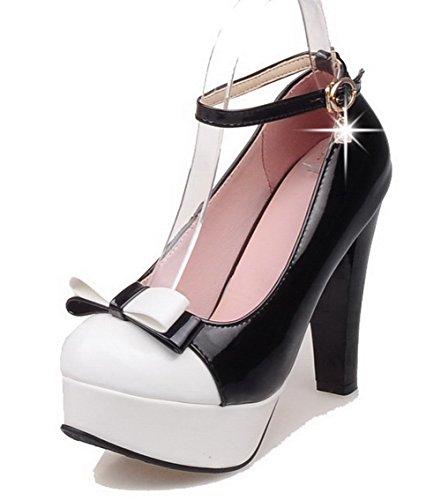 VogueZone009 Femme Verni Boucle Rond à Talon Haut Couleurs Mélangées Chaussures Légeres Noir