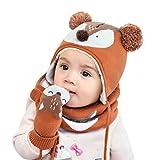 DORRISO Cappello Sciarpe Guanti Set Bambino Autunno Invernale Primavera Carina Piccolo Volpe Beanie Cappelli Berretto Bambini Infantili del Cappello Sciarpe Guanti per 1-6 Anni