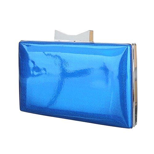 Damen Tasche, Abendtasche, Kleine Schultertasche Perlmutt Effekt, Synthetik, TA-1560-138A Blau