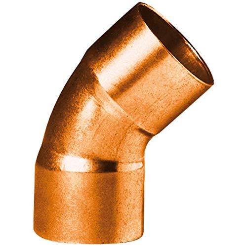 coude 45 degrès à souder en cuivre - petit rayon - femelle / femelle - diamètre 12 mm - sachet de 2