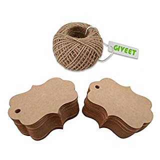 Giveet 100 PCS Kraft Paper Gift Tags with 30M Jute Twine, Candy Box Favor Hang Tags, Wedding Favor Thank You Cards, Christmas Favor Party Supply Blank Kraft Paper (Brown)