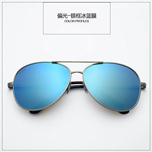Die neuen, eleganten Sunyan Männer und Frauen Sonnenbrille Brille tide Big Box ist die optische Linse mit dem Auto fahrer objektiv Sonnenbrille, Hochglanz Silber Box Ice Blue Film