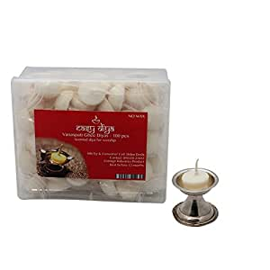 Swaha Vanaspati Ghee Diya (12 cm x 10 cm x 5 cm, Set of 100, White)