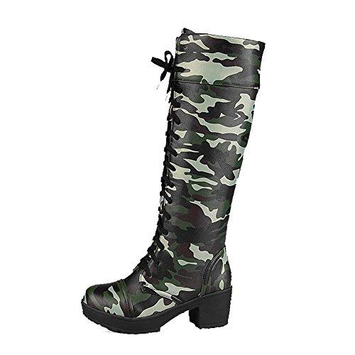 AllhqFashion Damen Rund Zehe Mittler Absatz Hoch-Spitze Gemischte Farbe Stiefel mit Knoten Grün