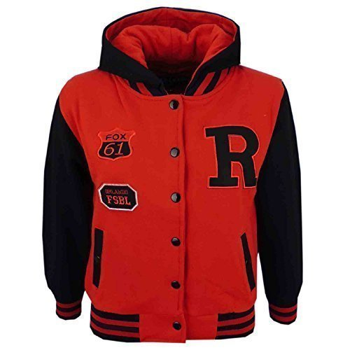 A2Z 4 Kids® Unisex Kids Girls Boys Baseball R Fashion Hooded Jacket Varsity Hoodie New Age 2 3 4 5 6 7 8 9 10 11 12 13 Years
