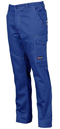 Pantaloni da Lavoro Uomo Cotone Multistagione con Tasche Laterali Payper Worker, Colore: Royal, Taglia: L