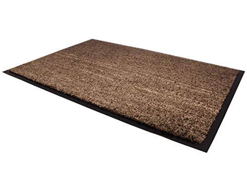 Schmutzfangmatte CONTI – Braun 120cm x 180cm, Waschbare, Rutschfeste, Pflegeleichte Fußmatte, Eingangsmatte, Küchenläufer Matte, Türvorleger für Innen & Außen