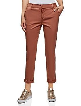 oodji Ultra Mujer Pantalones Chinos de Algodón, Rojo Marrón, ES 40 / M