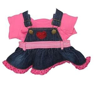 Construya su Bears Armario 15 Pulgadas Vestido Corazón Denim con la Camiseta del Oso de Peluche Ropa de Build Oso de Peluche (Rojo)