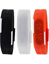 Pappi Boss Unisex Silicone Set of 3 Black,White & Red Digital Led Jelly Slim Bracelet Band Watch for Boys & Girls - Combo Offer