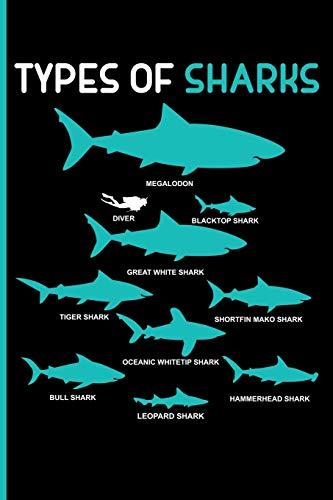 Eve Leopard (Types Of Sharks Megalodon Diver Blacktop Shark Great White Shark Tiger Shark: Shortfin Mako Shark Oceanic Whitetip Shark Bull Shark Leopard Shark Hammerhead Shark Blank Lined Journal Notebook Planner)