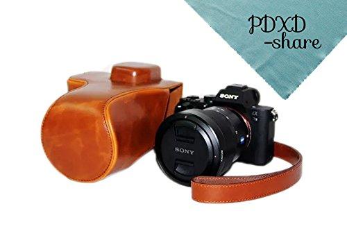 PDXD-share Kamera Tasche PU-Leder Tasche für Sony A7R II Vollformat-Kamera (Braun)