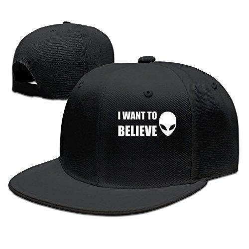 SSEE Unisex Erwachsene Hip Hop Cap I Want to Believe Flat Billed Hip Hop Cap Hats Esh, Herren, Schwarz, Einheitsgröße - Baseball-spiele, 360 Xbox