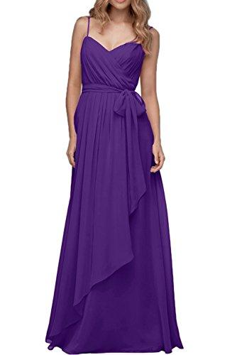 Ivydressing Damen Neu Traeger Chiffon Abendkleider Lang Partykleid Band Neu Violett