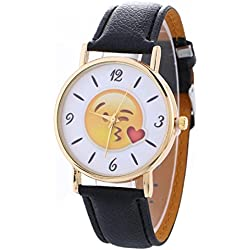 HARRYSTORE Neutral Cute Expression Fashion Leather Quartz Wrist Watch Dress Watch