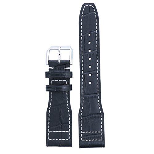22mm in Premium-Qualität Aviator Uhrenarmbänder schwarz Vintage Kalb Distressed Nubukleder für Luxus Portugieser Chronograph Uhren (Leder-finish Distressed Braun)