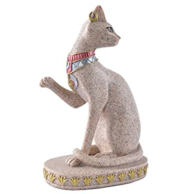 MagiDeal Sandstone Ancient Egyptian Mau Cat Statue Sculpture Hand Carved Figurine