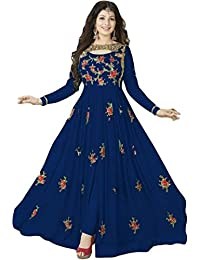 ARYAN FASHION Latest Indian Beautiful Blue Flower Printed Long Anarkali Suit Semi-Stitched Suit ( Bottom Unstitched)