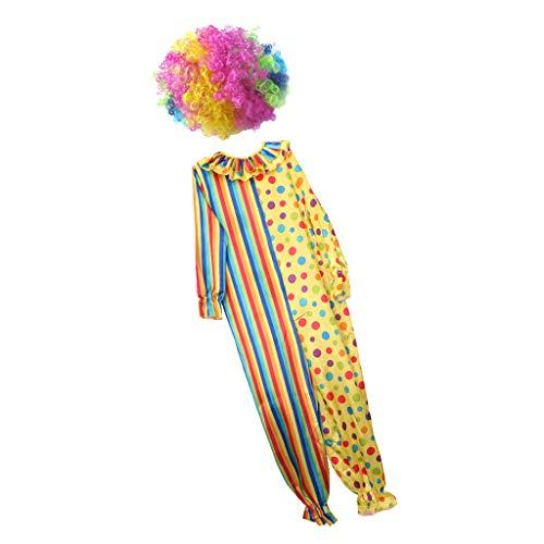 Hellery Lustige Zirkus Clown Afro Perücke Kostüm Overall Streifen Entdeckt Kostüm Prop