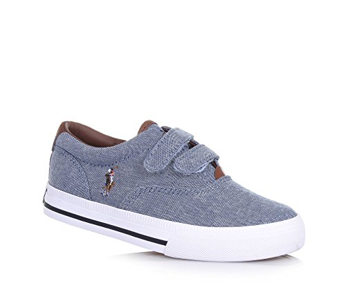 POLO RALPH LAUREN - Blauer Schuh aus Stoff, mit Klettverschluss, braune Ledereinsätze, seitlich und auf der Zunge ein Logo, Jungen-28 (Braune Jungen Schuhe)
