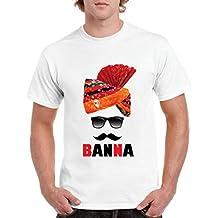 QUVYARTS Men's T-Shirt Half Sleeve Banna Print T Shirt for Men Royal/Rajasthani/Pagdi/Pag/Rajput/Rajasthan/Banna Ji/Bana/Sunglasses/Chashma/Cool/Swag/Sports/Tashan/Printed Tshirt