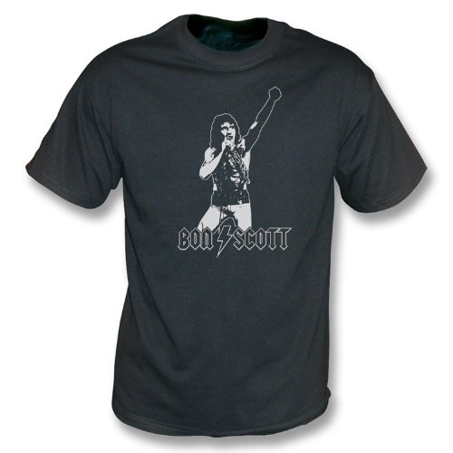 TshirtGrill Bon Scott - Tributweinlese-Wäsche T-Shirt klein, Farbe- Schwarzes -