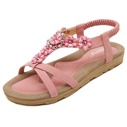 Sommer Frühling Damen Blumen Strass Flach Weiche Sohle Tropische Sandalen Zehentrenner Pink
