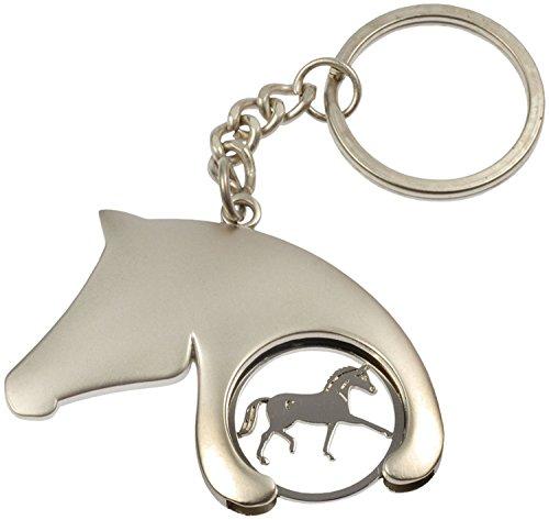 Llavero/ficha con forma de cabeza de caballo–5cm de alto, plata, 5 cm...